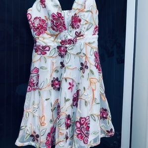 Deep V b as babydoll foral and lace dress